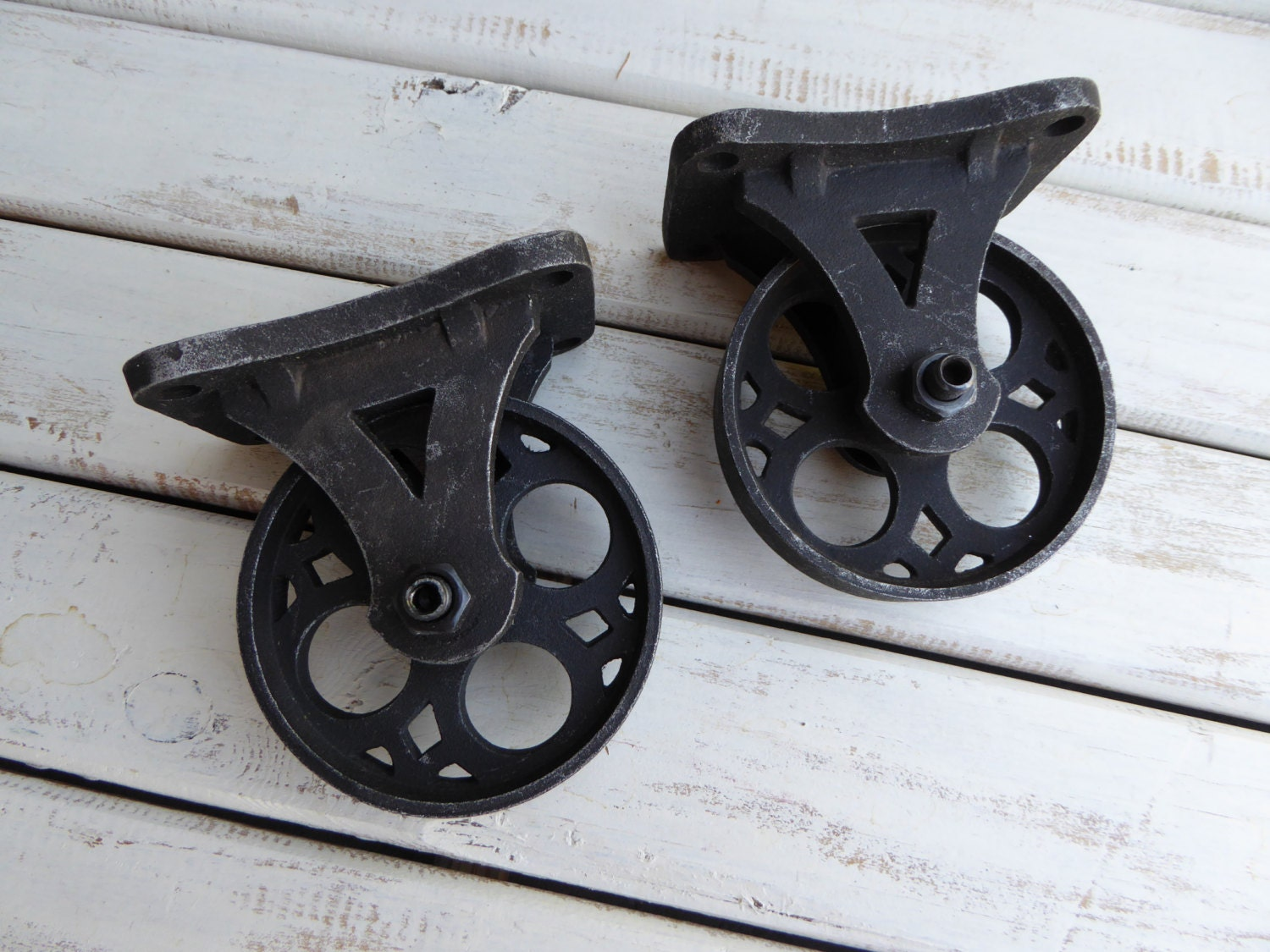 set of 2 vintage inspired metal iron caster wheels. Black Bedroom Furniture Sets. Home Design Ideas