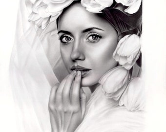 "Original pencil drawing ""Charisma"", 11""x16"" by Sarkis Sarkissian"