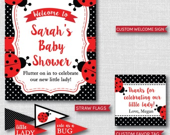 Red Ladybug Baby Shower Printable Party Package - Ladybug Baby Shower Party Decor - DIGITAL DESIGN