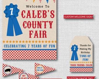 County Fair Theme Birthday Printable Party Package - Boy Fair Birthday Party Decor - DIGITAL DESIGN