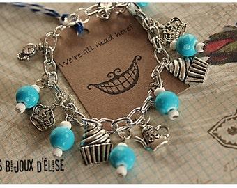 Alice in Wonderland Charms Bracelet Antique Silver