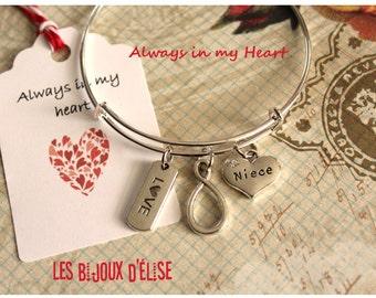 Love Forever Wire Bangle Bracelet Niece Family Charms Bangle Expandable Bracelet