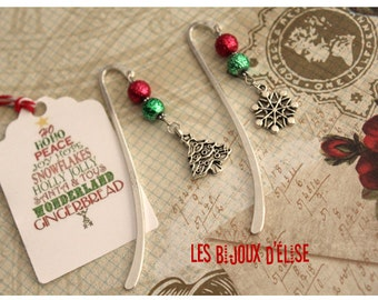 Snowflake Bookmark or Christmas Tree Bookmark Christmas Bookmark Antique Silver