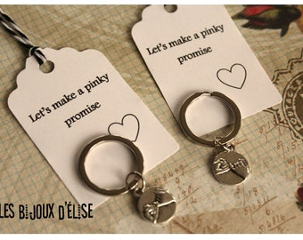 Sale - Set of 2 Pinky Promise Keychains His and Hers Couple Keychain Friendship Best Friend Keychain Party Favors - Small Size (PI01)