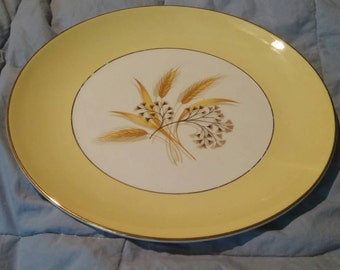 "On Sale Century Service 10 inch Dinner Plate ""Autumn Gold"" Semi Vitreous Made in Alliance, Ohio"