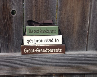 Grandma/Mothers day Mini stacker blocks-The best Grandparents get promoted to Great-Grandparents