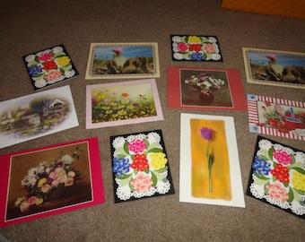 12 Blank flower floral cards Lot of vintage cards