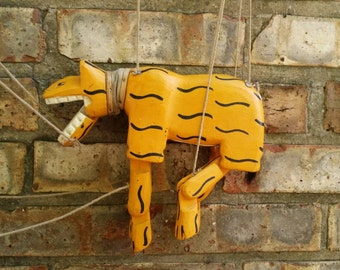Antique Tiger Marionette Handmade Cat Puppet Professional Theater Orange Striped Prop Carnival Prize VF