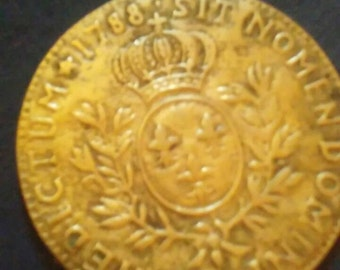 Vintage brass large coin paperweight reproduction