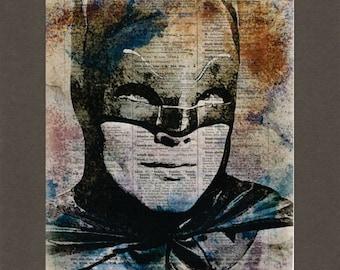 Batman, Adam West Batman, Dictionary Art Print, Upcycled Dictionary Page, Old Book Art, Decorative Wall Art,