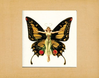 """Butterfly Fairy, Blank Note Card, Greeting Card, Stationery, 4.25"""" x 4.25"""" Square Card"""