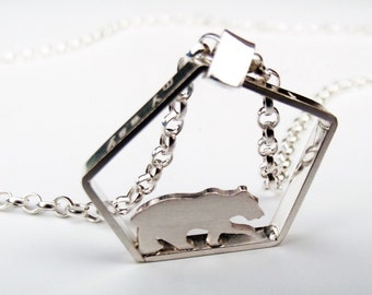 Silver bear necklace, wandering bear, assymetrical pendant, handmade animal jewellery