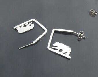Wandering bear, eco silver, drop earrings, bear, handmade jewellery, earrings, unusual earrings, Hexagonal, handcut, themsilverseas, silver