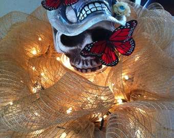 Butterfly Skull Centerpiece with lite wreath