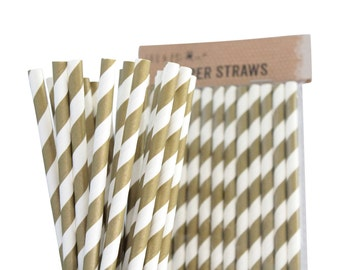 Gold Drinking Retro Paper Straws for Birthday Party Wedding Decoration