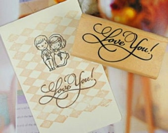 Wooden Rubber Stamp LOVE YOU Stamping Handmade Gift Wrap