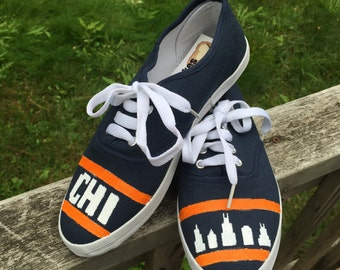 Hand painted Chicago Shoes [chicago skyline shoes]