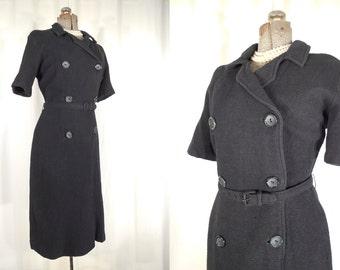 Vintage 1960s Dress / 60s Black XL Mod Dress / Plus Size Black Wiggle Dress