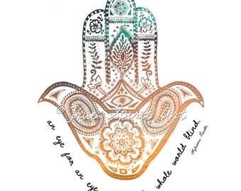 Hamsa - Art Print, Gandhi, Eye for an Eye