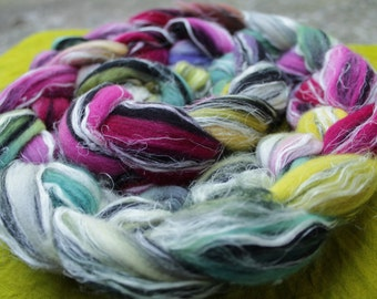 Combed tops, Merino/linen, hand-dyed, stained