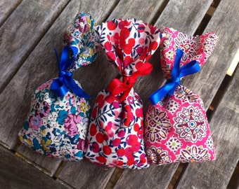 Lavender Sachets, Set of 3 Liberty of London Fabric Lavender Sachets, Scented Drawer Sachets