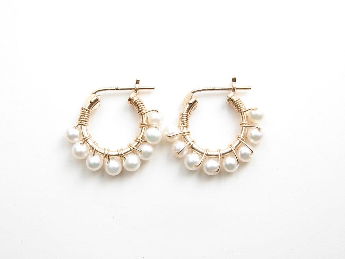 june birthday small pearl hoop earrings 14k gf hoop