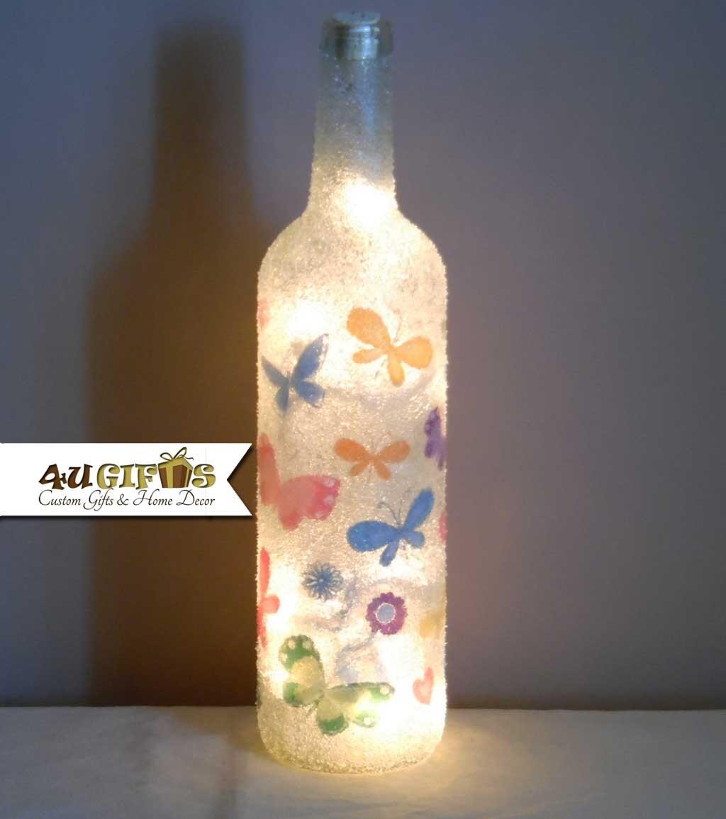 Lighted wine bottle butterflies butterfly wine bottle wine for Light up wine bottles