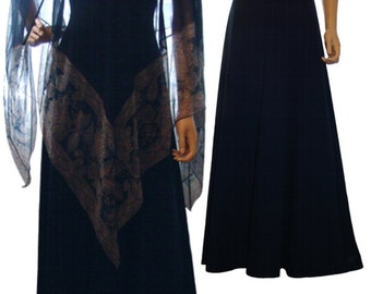 Navy Blue Evening Gown with Chiffon Drape - Paisley design - Formal Wear - 1970