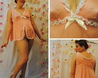 Vintage Peach Nightie with High Front Slit