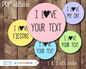 I love bottlecaps, Editable Bottlecaps, 1 inch, 2 inch, editable, I love, Editable PDF - 449