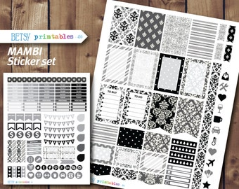MAMBI damask Planner stickers Printable Stickers, planner stickers, black and white damask, Happy Planner -  450