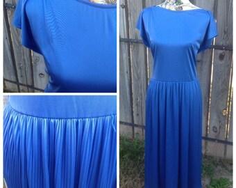 Vtg Women's Dress, 80s dress, Vtg Dress, Drop Waist, Strait Lane, Short Sleeve, Blue Dress, Boatneck, Pleated, Polyester, Size 12, 70s, 80s