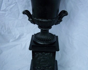 Vintage Trophy Urn Planter Loving Cup Iron Black Heavy Handles Deco Regency Decor Wedding DoorStop Book End Traveling Metal gift sport