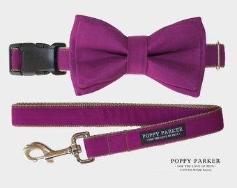 Layered Dog Bow Tie - Berry Purple - Optional Matching Collar and Leash