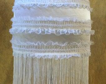 Pick Size-White Victorian Lace Moulin Burlesque Costume Shimmy Fringe Mini Skirt
