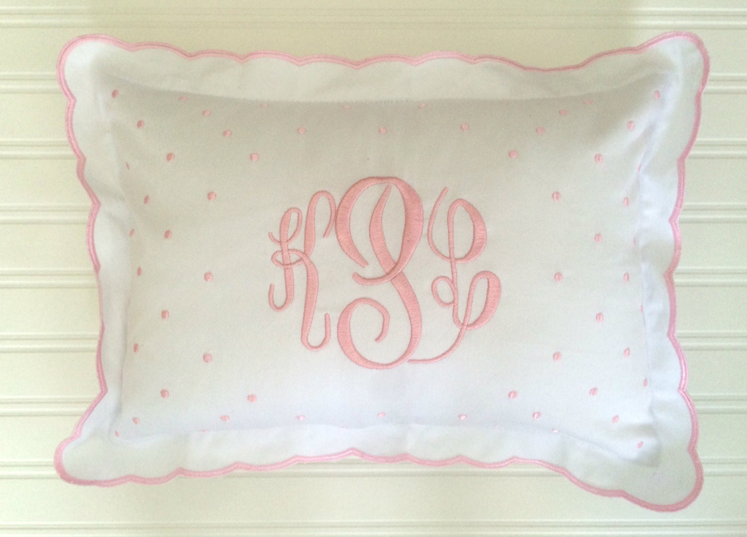 Crib pillows babies - Monogrammed Baby Pillow Crib Nursery Pink Blue White