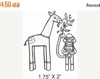 Sale Sock Monkey Safari with Giraffe Rubber Stamp 538 featured artist