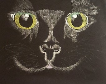 Hand drawn black cat vest top