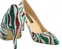 Swarovski crystal Holiday Christmas xmas sweet Candy Cane inspired Red White Emerald Green mid heel Pump court shoe