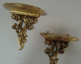 "Vintage ,couple sconces/wall shelves,wood,gold finish7.5""X 8'' ,pre owned"