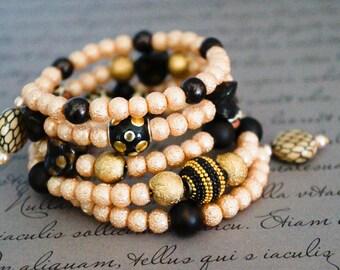 Bohemian bracelet,Spiral Bracelet, Wrap Bracelet, Cuff Bracelet,Animal print jewelry, Wrap Bracelet, Spiral Wrap bracelet, beaded bracelet