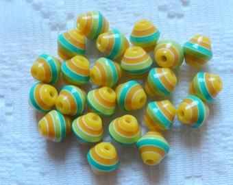 23  Yellow Turquoise Green & White Striped Bicone Acrylic Resin Beads  8mm