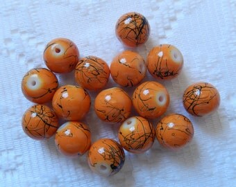 15 Halloween Harvest Orange & Black Splattered Round Glass Beads  11mm