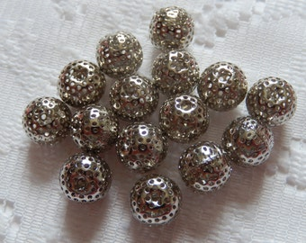 13  Silver Perferated Metal Alloy Round Ball Beads  10mm