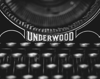 Vintage typewriter photo, typewriter print, underwood typewriter photograph, gifts for writers, library decor, black and white photography