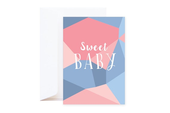 Wishing Card: Sweet Baby (including envelope) // Graphic postcard with powder pink & blue colours // Mineral collection // Baby shower