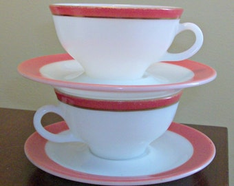 Vintage Lot of 2 Pyrex Coffee Cups & Saucers