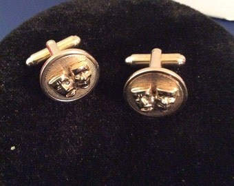 Silver toned cuff links 1/2 in