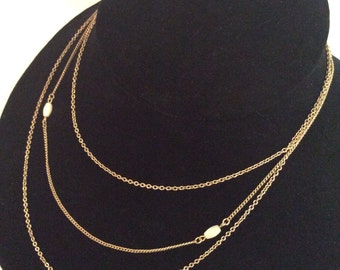 Multi strand gold toned necklace 19 in
