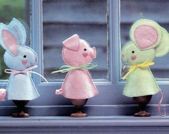 Bunny, Pig, Mouse, Chick - Felt Pattern